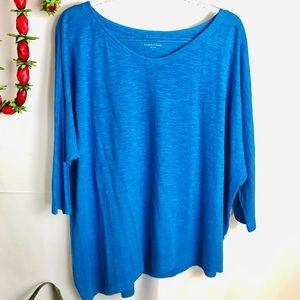 Eileen Fisher Asymmetrical Hemp/Cotton Blue Shirt